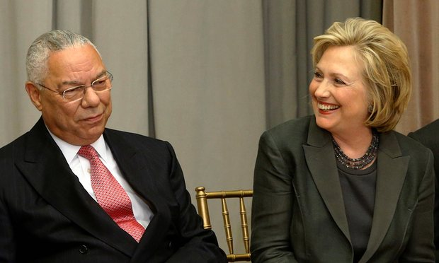 Colin Powell with HIllary Clinton.